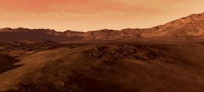 Mars like red planet, with arid landscape, rocky hills and mount