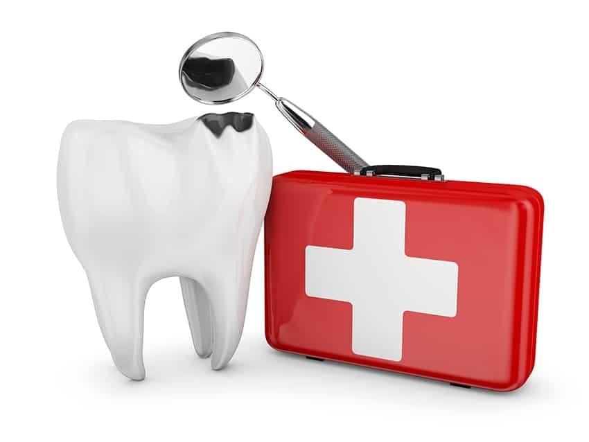 Large animated tooth with a chip in it next to a first aid kit with a dental mouth mirror. Don't Let Your Teeth Land You in the Emergency Room