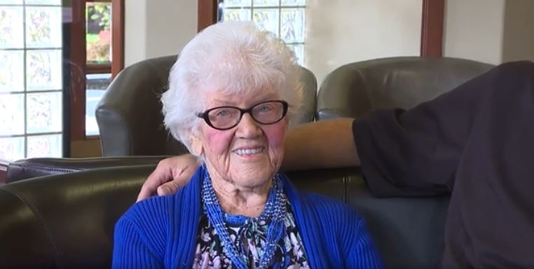 Helen Payne, the recepent of new teeth on her 100th Birthday from her Implant Dentist Grandson