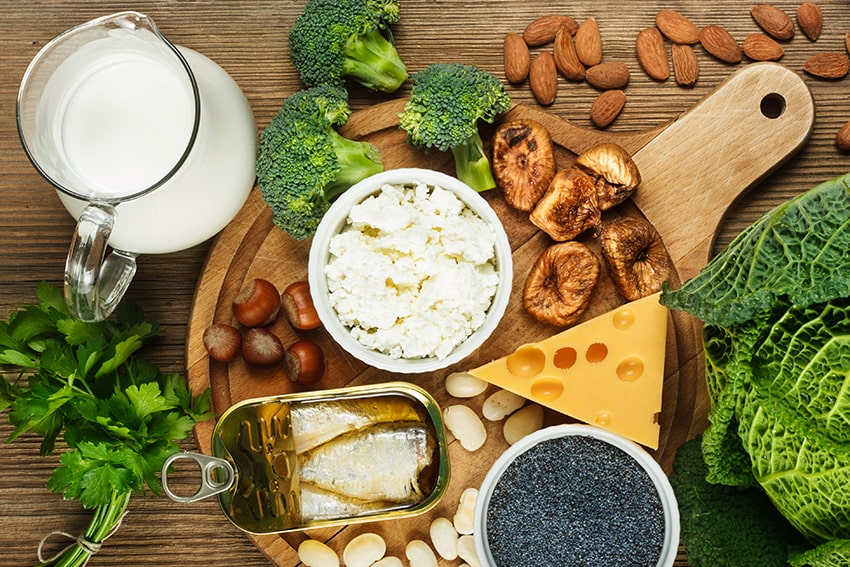 A selection of calcium rich foods